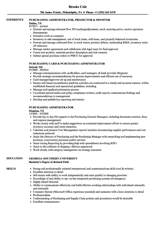 Purchasing Administrator Resume Samples Velvet Jobs