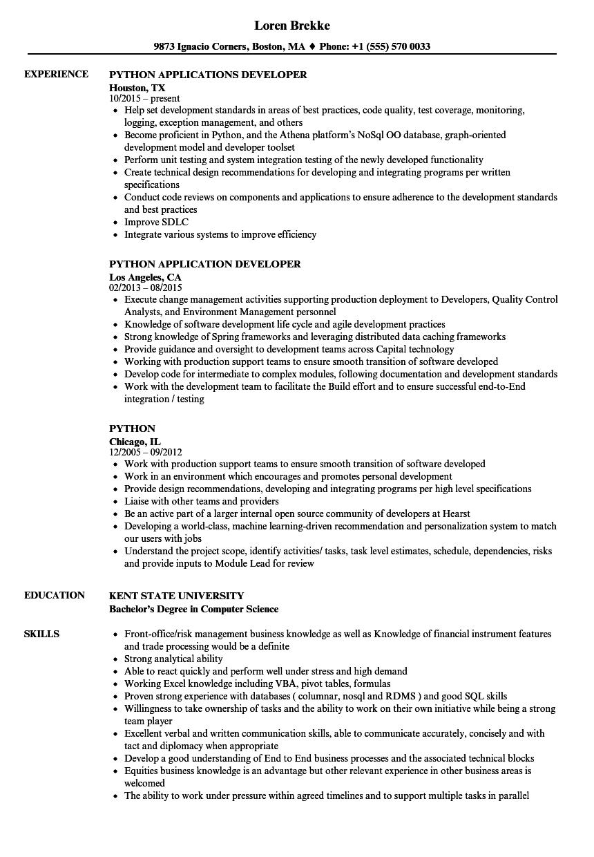 Python Resume Samples Velvet Jobs