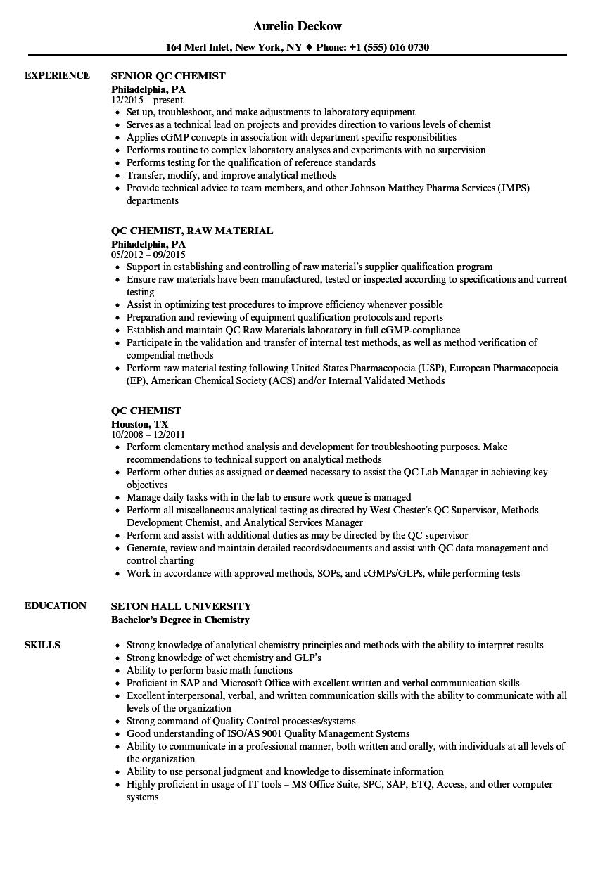 Qc Chemist Resume Samples Velvet Jobs