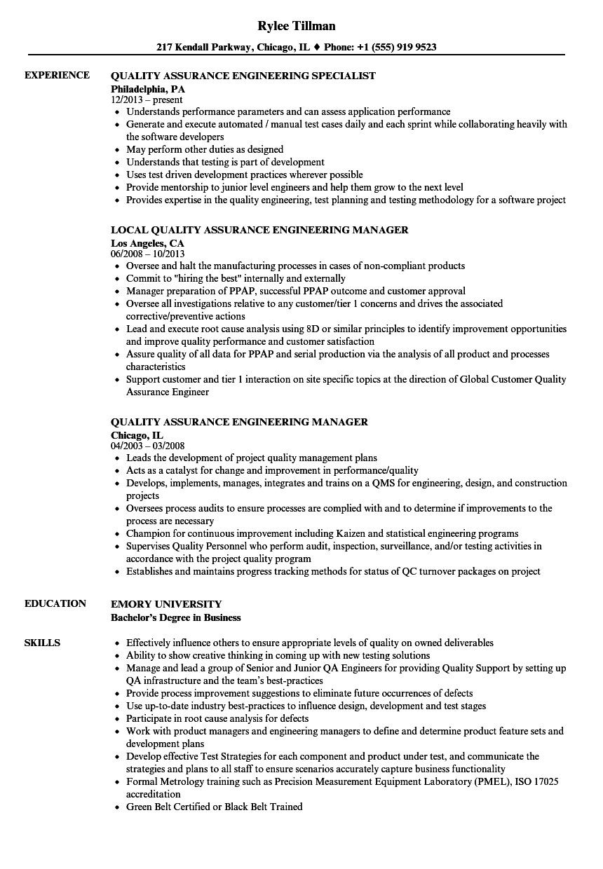 Quality Assurance Engineering Resume Samples Velvet Jobs