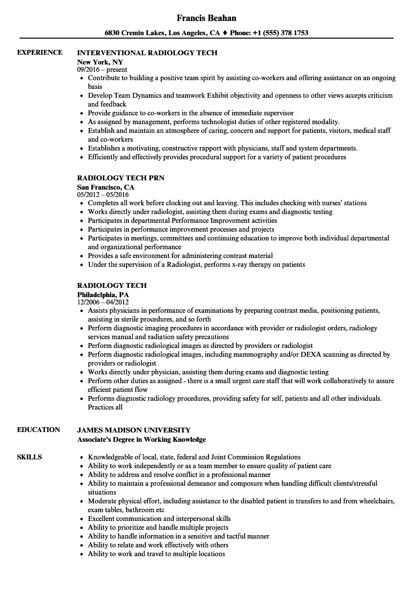 Rad Tech Resume Samples | res.divefellows.com