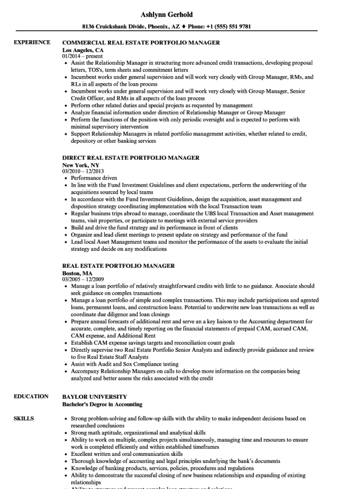 Real Estate Portfolio Manager Resume Samples Velvet Jobs