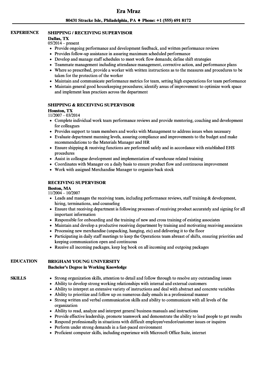 Receiving Supervisor Resume Samples Velvet Jobs  Supervisor Resume Samples