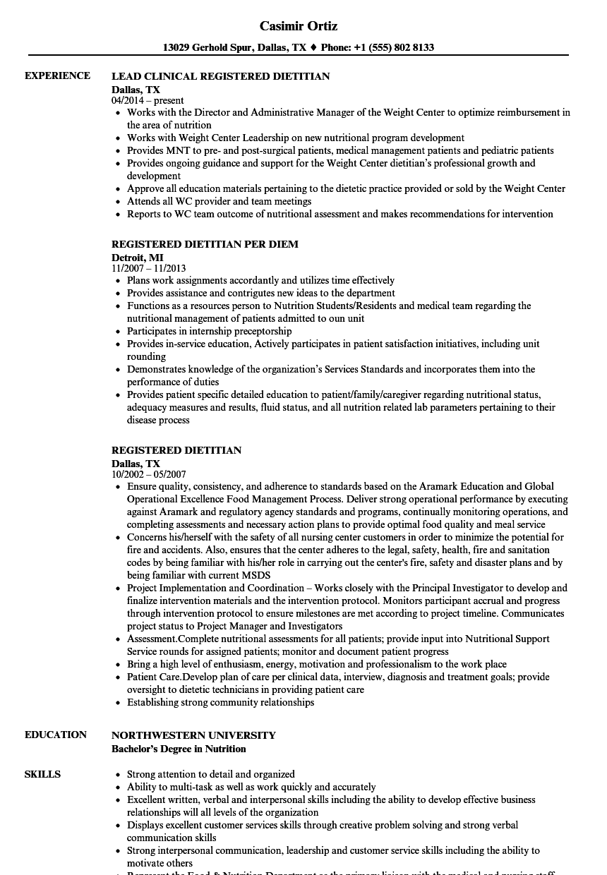 Registered Dietitian Resume Samples Velvet Jobs