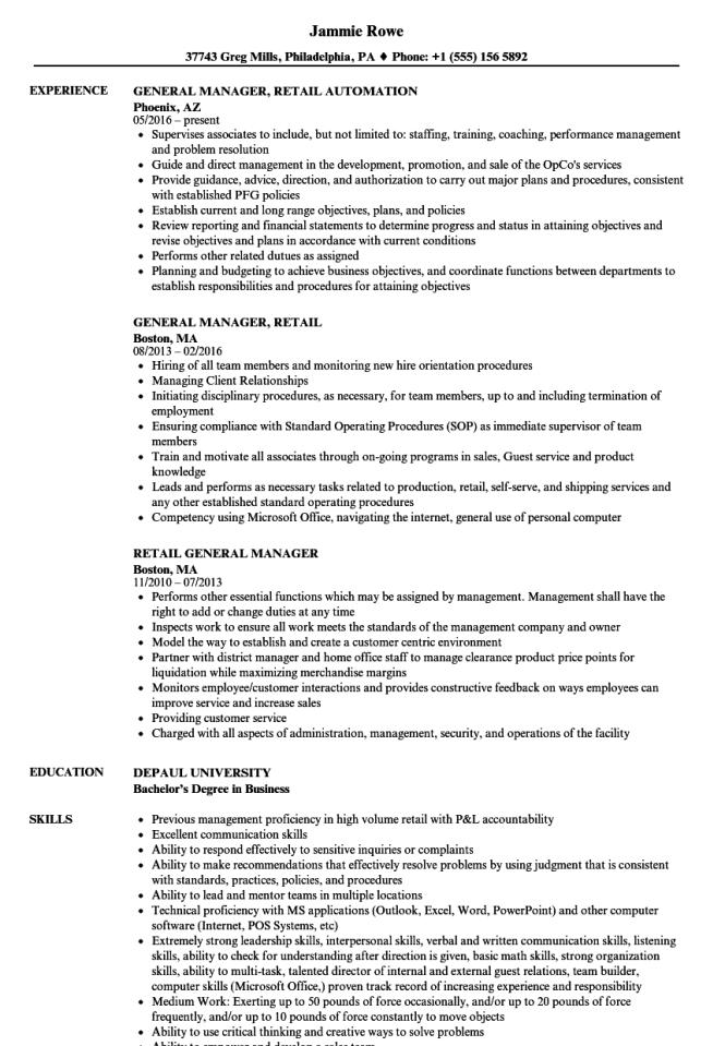 Retail Sales Manager Resume Resume Sample