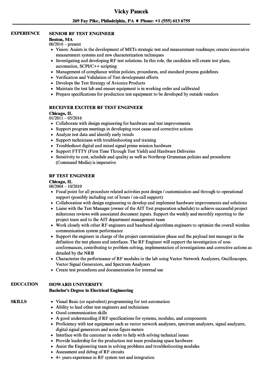 RF Test Engineer Resume Samples Velvet Jobs