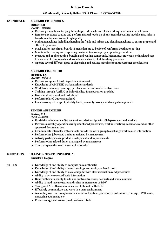 Senior Assembler Resume Samples Velvet Jobs
