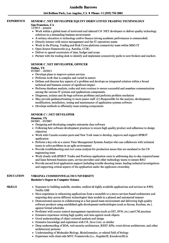 Senior C Net Developer Resume Samples Velvet Jobs