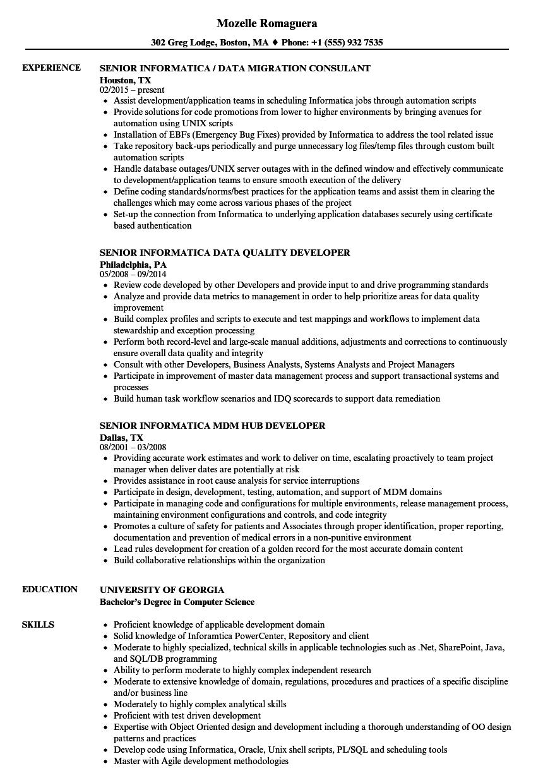 Senior Informatica Resume Samples Velvet Jobs