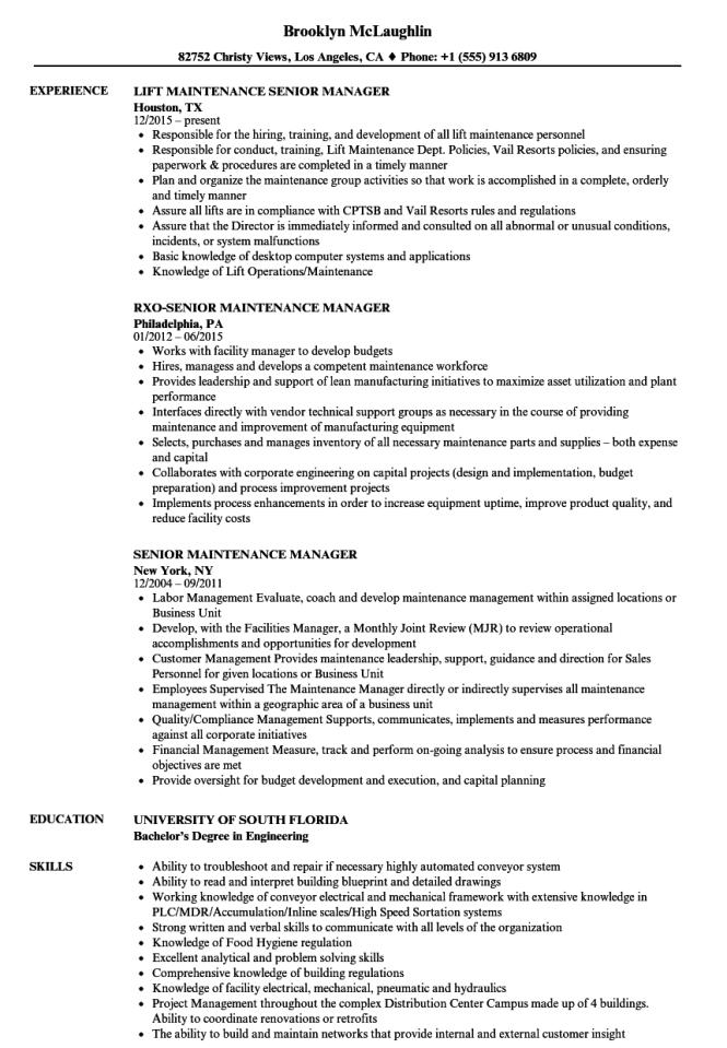 senior maintenance manager resume samples velvet jobs - Maintenance Manager Resume