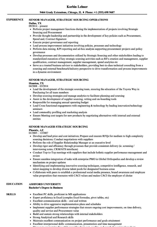 saas resume samples - strategic sourcing resume resume sample