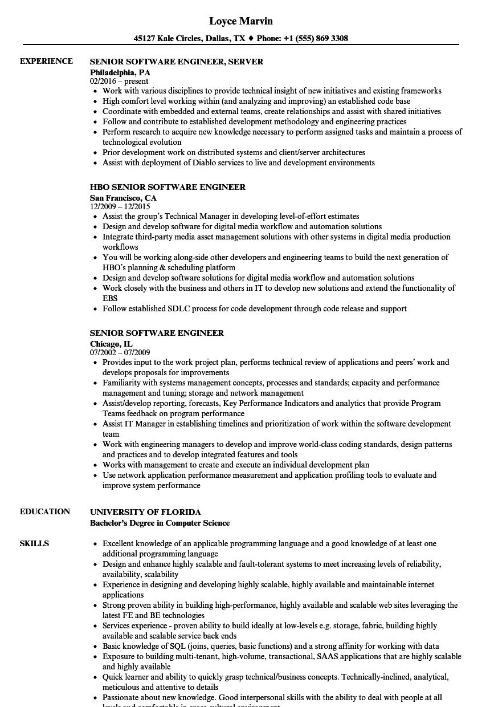 Senior Software Engineer Resume Samples Velvet Jobs