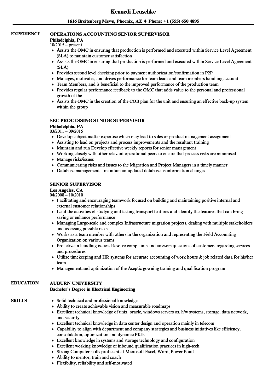 Senior Supervisor Resume Samples Velvet Jobs