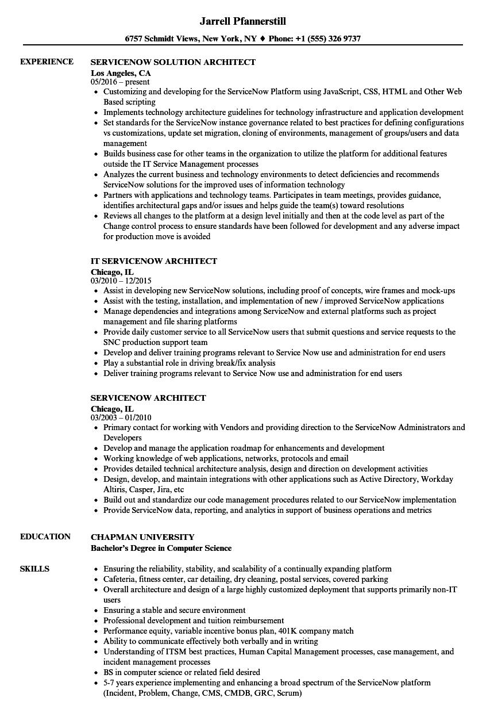 Servicenow Architect Resume Samples Velvet Jobs