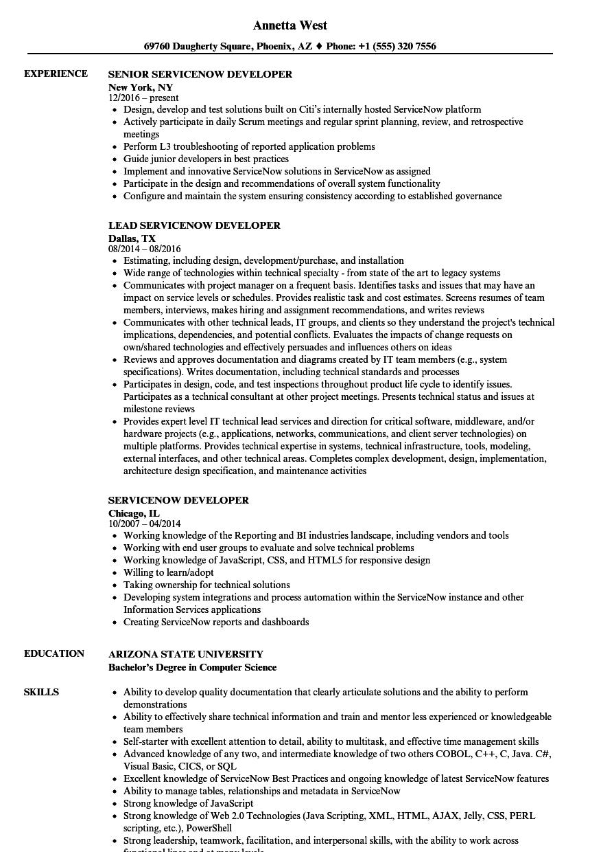 Servicenow Developer Resume Samples Velvet Jobs