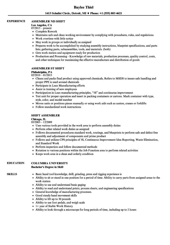 Shift Assembler Resume Samples Velvet Jobs