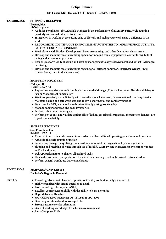Shipper Receiver Resume Samples Velvet Jobs