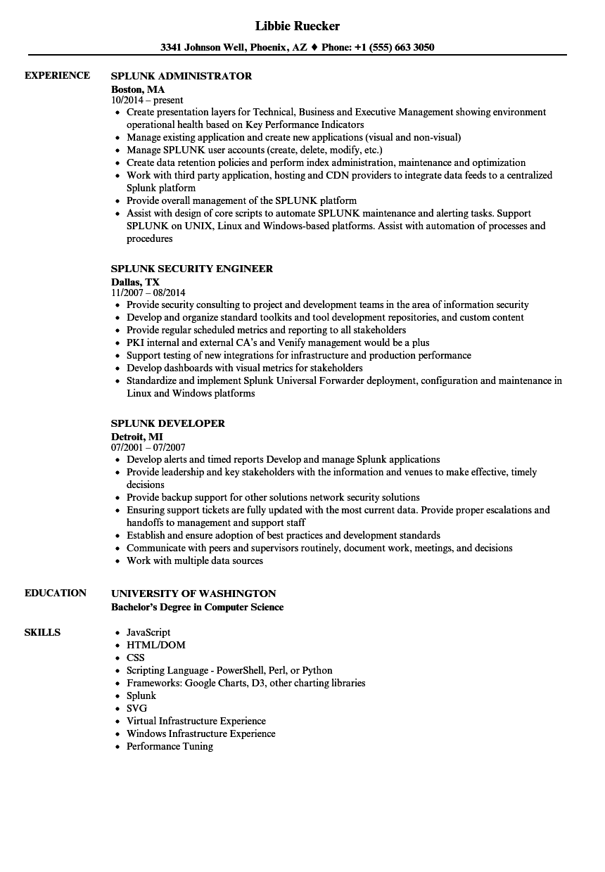 Splunk Resume Samples Velvet Jobs