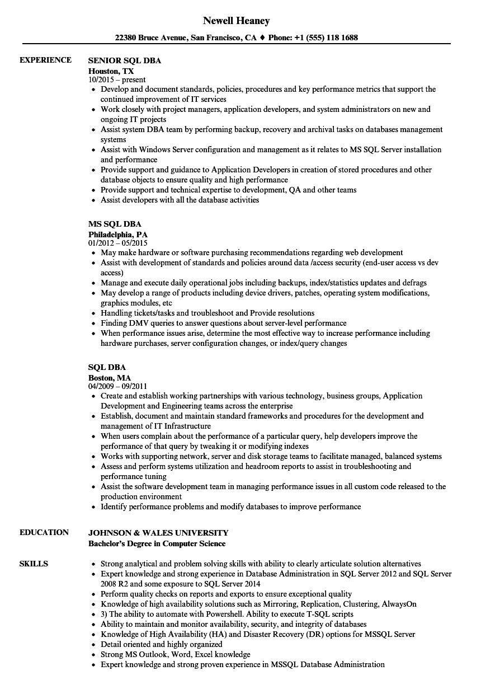 Sql Dba Resume Samples Velvet Jobs