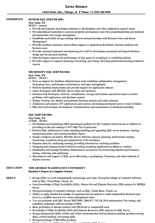 Sql Server Dba Resume Samples Velvet Jobs