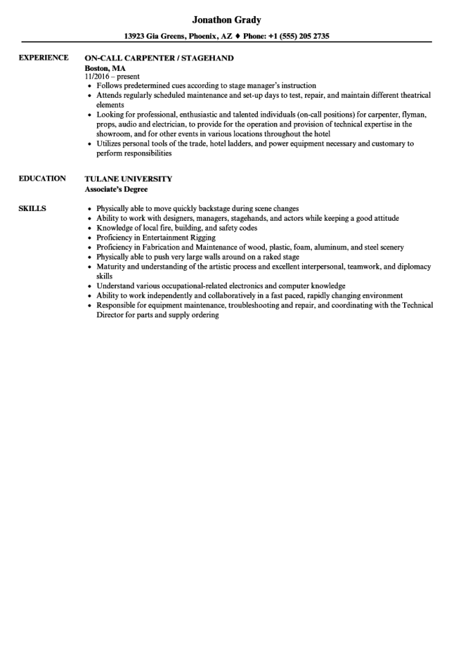 stagehand resume examples resume sample