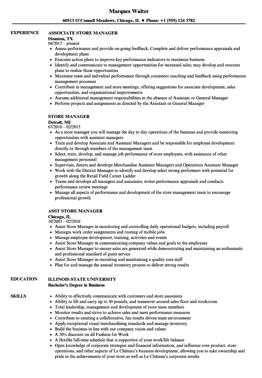Store Manager Resume Samples Velvet Jobs