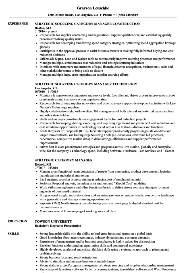 Strategic Sourcing Resume - Resume Sample