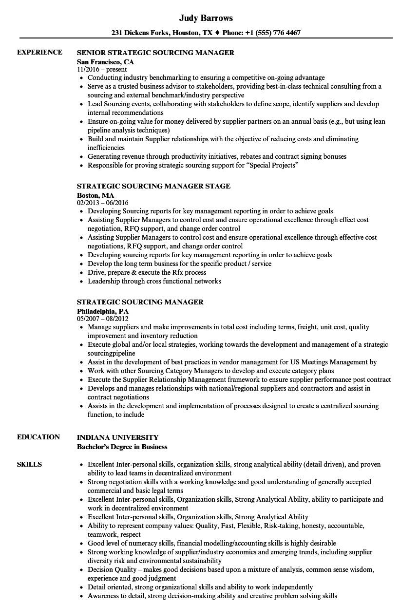 Strategic Sourcing Resume Resume Sample