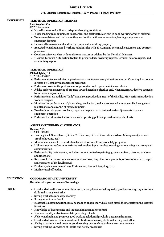 Terminal Operator Resume Samples Velvet Jobs