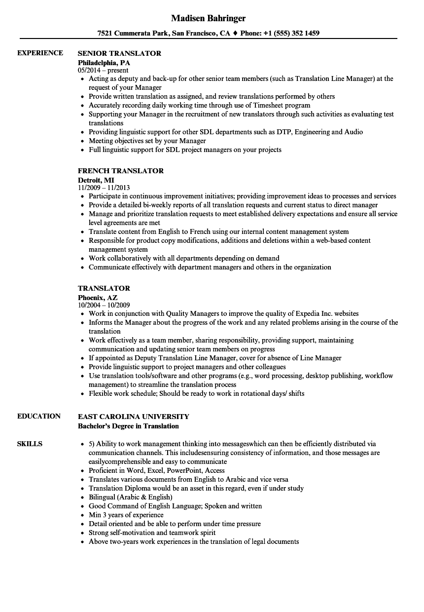 translator resume
