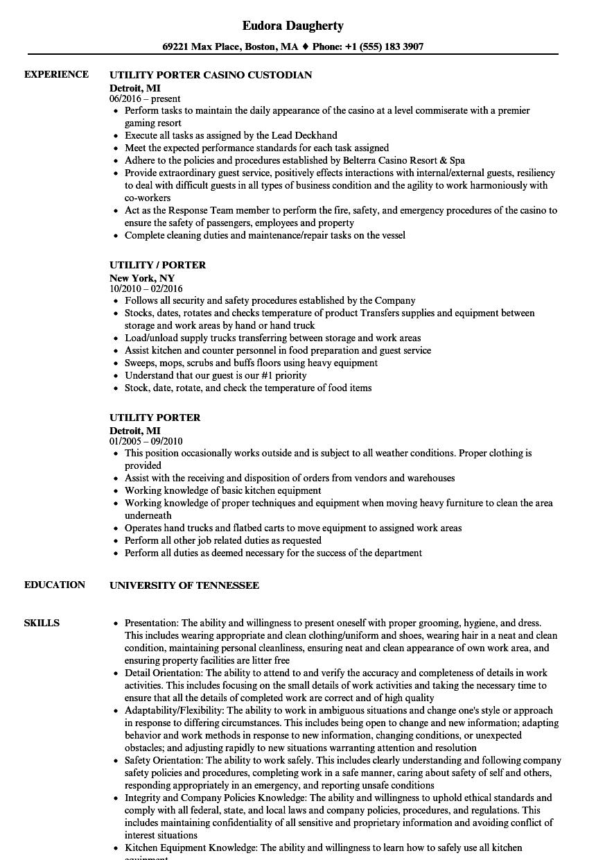 Utility Porter Resume Samples Velvet Jobs