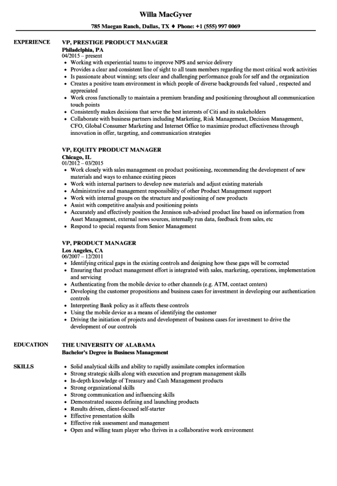 Product Management Resume Samples - Resume Sample
