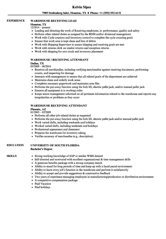 Warehouse Receiving Resume Samples Velvet Jobs