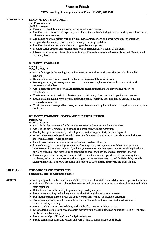 Windows Engineer Resume Samples Velvet Jobs