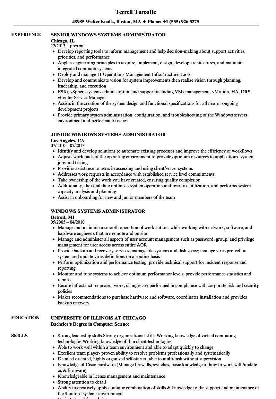 Windows Systems Administrator Resume Samples Velvet Jobs