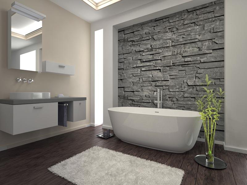 grey cladding on bathroom feature wall