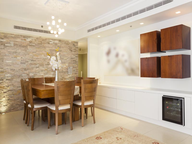 light cream and grey cladding on an indoor feature wall