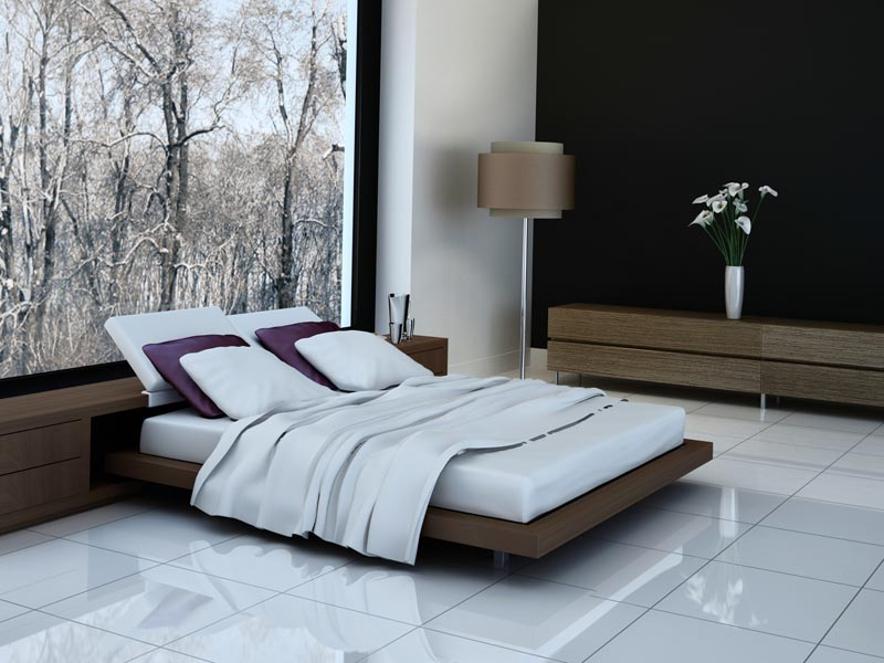 polished white porcelain used in the bedroom floor