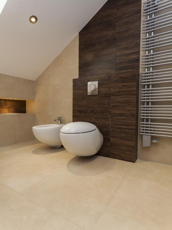 porcelain 800X800 on the floor with the vertical line of wood lookalike tile on the wall