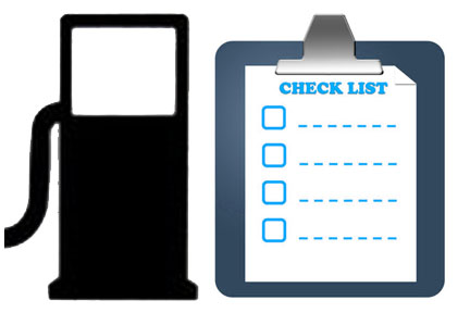 Image of gas pump and checklist for VEMA fuel consumption checklist tips