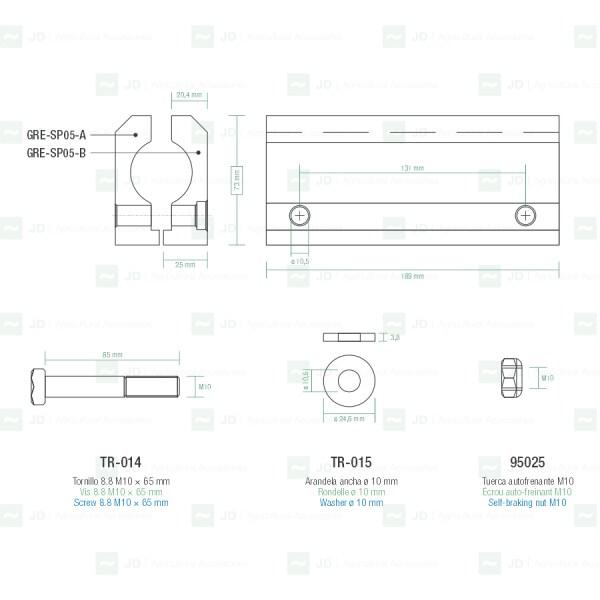 Soporte de aluminio completo para sacudidores Gregoire ø 25 mm