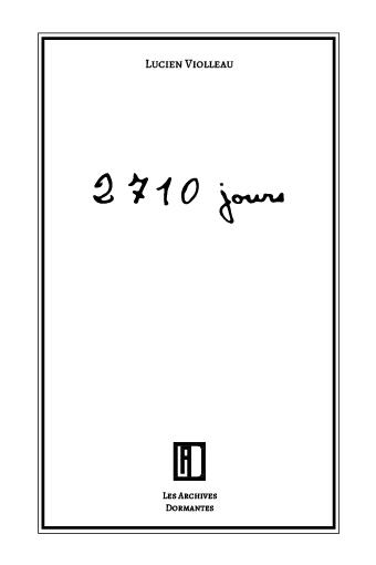 couverture du livre 2710 jours de Lucien Violleau