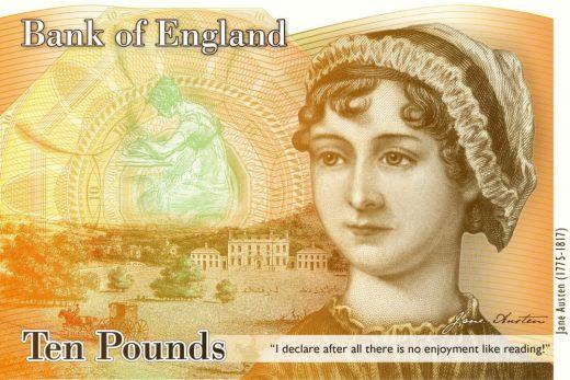 Billet de banque à l'effigie de Jane Austen