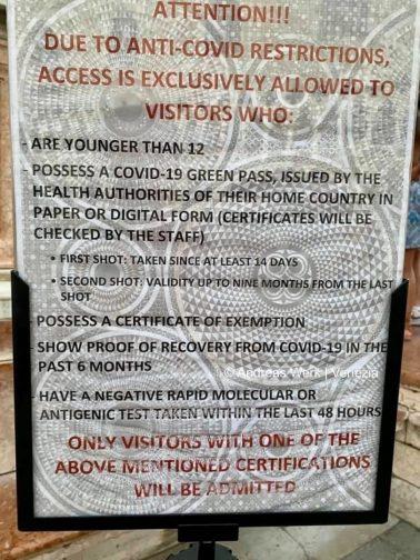 3-G-Regeln werden in Venedig konsequent durchgesetzt.