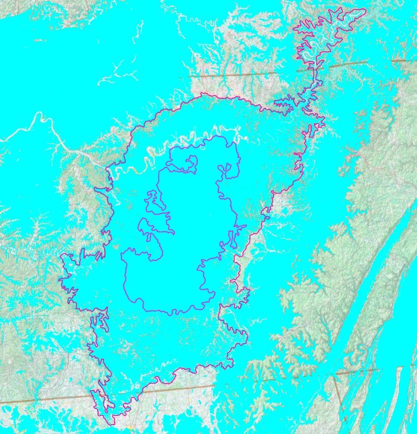 Limestone karst (blue) in the Nashville Basin.