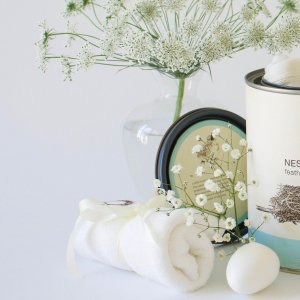 """Petite Nesting Bundle #4   Onesie, french terry wash cloth and a Robins egg soap """"Some Bunny Loves You"""""""