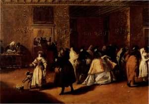 """il """"ridotto"""", ingresso di teatro dipinto dal Guardi"""
