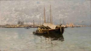 - Barconi e vele nella laguna di Venezia - olio su tela 56 x 100 cm