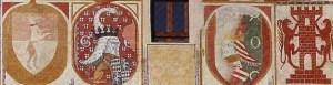 da sinistra a dx lo stemma del podestà Andrea Zane (1405) lo stemma del capitano Gerardo Aldighieri (circa 1397) lo stemma del podestà Moschino Rusconi (circa 1397) il vessillo di Bassano (1405)