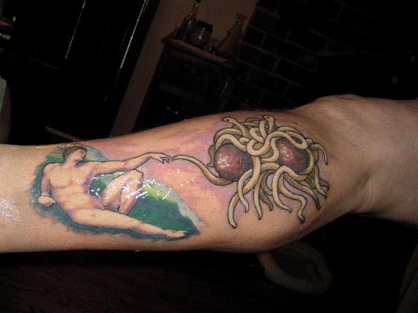 Joseph's leg, after getting the tattoo.